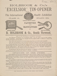 Advert For Holbrook & Co's 'Excelsior' Tin Opener